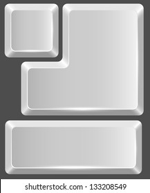 Blank white keyboard button isolated on gray background.