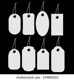 Blank White labels set.