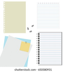 Blank white lined paper, notebook paper, torn paper.