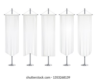 Blank white long mock up pennants flags  banners hanging on pole stand support realistic set vector illustration