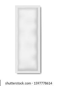 Blank white long rectangular sachet packet, vector mockup. Product sample package, mock-up.