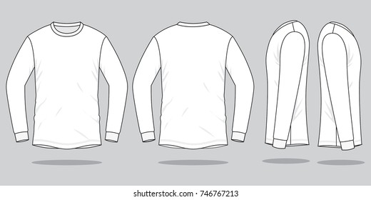 Blank White Long Sleeve T-Shirt For Template.Front, Back and Side Views.