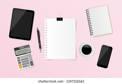 Blank white note paper with notebook, pen, calculator, coffee cup, tablet and smartphone on pink background. Vector illustration