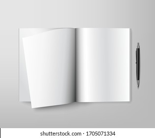 blank white notebook and pen on the table top view. Layout for advertising and printing