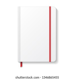 Blank white notebook with red elastic and ribbon bookmark mockup template. Isolated on white background with shadow. Ready to use for your design or business. Vector illustration.