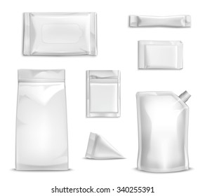 Blank white packaging realistic set for food and sauce isolated vector illustration
