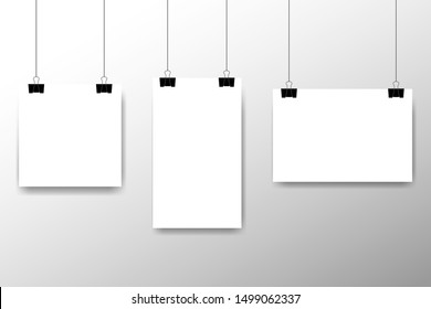 Blank white page hanging against grey background. Affiche, paper sheet hanging on a clip. Vector advertising banner mockup stand exhibit. Vector illustration.