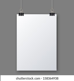 Blank white page hanging against grey background vector template.