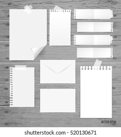 Blank white paper, note paper, envelope. Vector illustration.