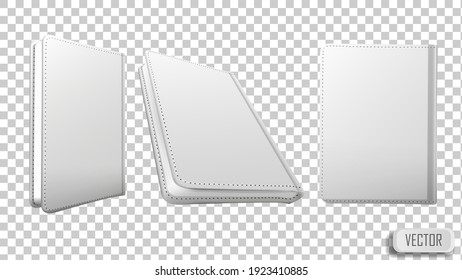 Blank white paper realistic mockup. Set of book templates in different views on transparent background