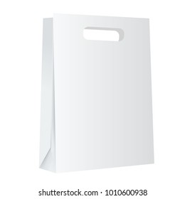 Blank white paper shopping bag mockup on white background.