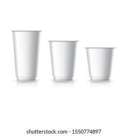 Blank white paper-plastic coffee-tea cup in large-medium-small size mockup template. Isolated on white background with shadow. Ready to use for brand design. Vector illustration.
