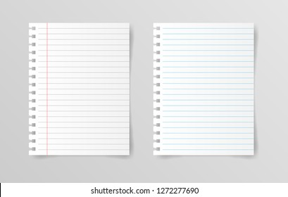 Blank white papers isolated on gray background. Vector illustration