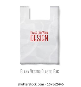 Blank white plastic bag with place for your design and branding isolated on white background. Vector