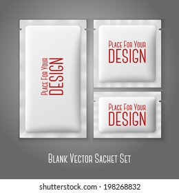 Blank white plastic sachets for coffee, sugar, salt, spices, medicine, condoms, drugs, isolated on grey background with place for your design and branding. Vector