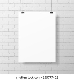 Blank white poster hanging on brick wall. Vector.