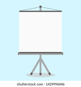 blank white projector screen with stand isolated on background. vector illustration