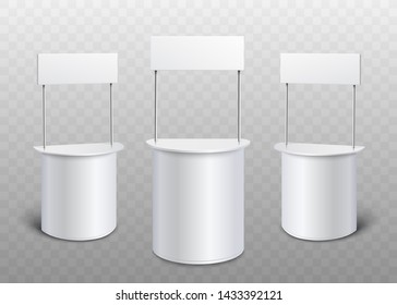 Blank white promo stand set - realistic mock up of rounded promotional counters with rectangle banners for advertising or exhibition, isolated 4D vector illustration