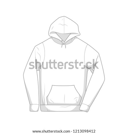 Blank White Pullover Hoodie Template Stock Vector Royalty Free