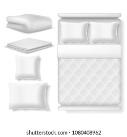 Blank white realistic bedding top view. Bed with blanket, pillow, linen and folded towel. Vector illustration isolated. Bedroom with pillow and comfortable blanket