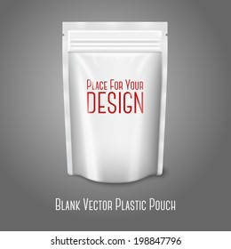 Blank white realistic plastic pouch with zipper isolated on grey background with place for your design and branding. Vector