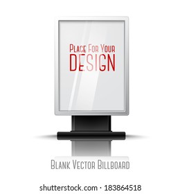 Blank white realistic vertical billboard with place for your design and branding under the glass.