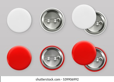 Blank white and red badges. Pin button. 3d vector realistic mockup