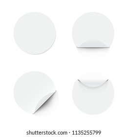 Blank White Round Adhesive Stickers With Curved Corner. EPS10 Vector