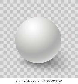 Blank of white round sphere or 3d ball. Vector.