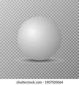 Blank of white round sphere or 3d ball.  Vector realistic ball isolated on a transparent background with a shadow.