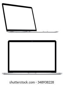 Blank white screen notebook display isolated on white.