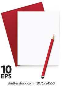 Blank white sheet with letter and red pencil. Realistic  Vector 3d illustration