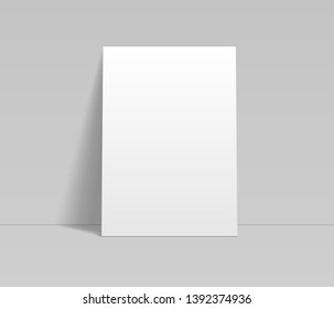 Blank white sheet of paper leaning at the wall template, vector mockup