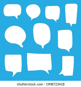 blank white speech bubbles set with different hand drawn shape isolated on blue background