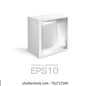 Blank white square cardboard box with hole, transparent plastic window isolated on white background. Product package template
