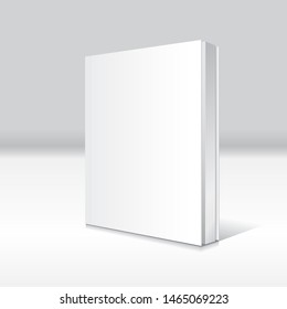 Blank white standing and slightly open thin softcover book or magazine mockup template. Isolated on gray background with shadow. Ready to use for your business. Vector illustration.