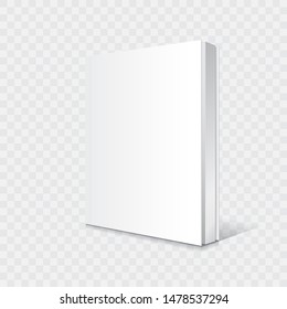 Blank white standing and slightly open thin softcover book or magazine mockup template. Isolated on transparent background with shadow. Ready to use for your business. Vector illustration.