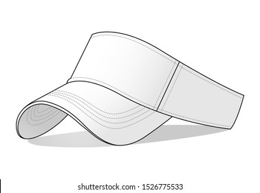 Blank White Sun Visor Cap Vector for Template : Perspective View