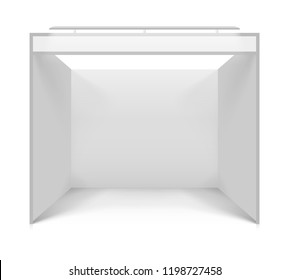 Blank white trade stand. Illustration isolated on white background. Graphic concept for your design