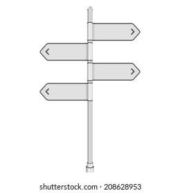 Blank white traffic road sign on white background. Vector illustration