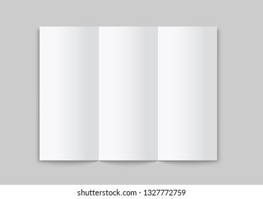 Blank white tri folded brochure mockup. Open booklet isolated. Vector template on white background.