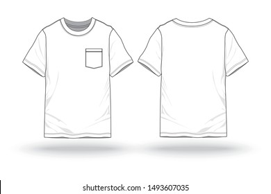 Blank White T-shirt with pocket template for fashion and apparel front and back view