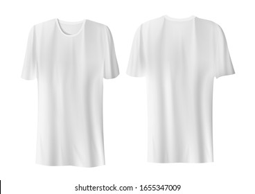Blank White T-Shirts On White Background. EPS10 Vector