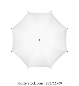 Blank White Umbrella. Top View. Vector.