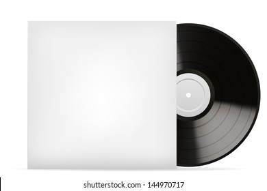 Blank white vinyl cover vector template  isolated on white background.