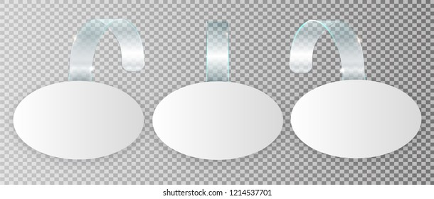 Blank white wobbler hang on wall mock up, 3d rendering. Space round paper mockup on plastic transparent strip. Clear price sticker oval shape. Pricing tag label template isolated. Vector illustration