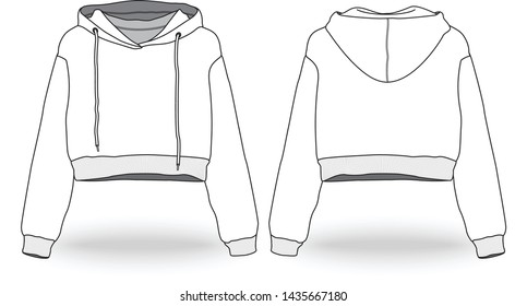 Blank white Women Sexy Long Sleeve Hooded Cropped Top Hoodie Sweatshirt Drawstring Pullover Jumper Tops Template front and back view