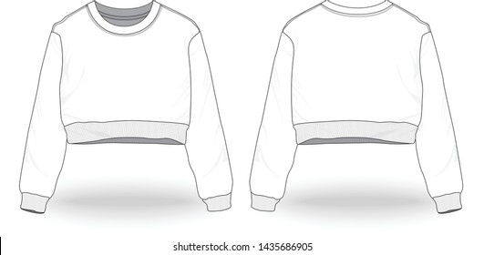 Blank white Women Sexy Long Sleeve Cropped Top Sweatshirt Jumper Tops Template front and back view