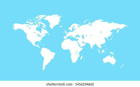 Blank white world map isolated on blue background. Planet Earth vector illustration. Worldmap template for website, design, cover, infographic.