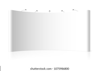 Blank wide trade exhibition stand, vector illustration